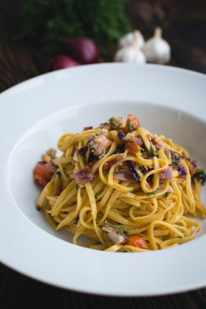 Fresh pasta linguine with dill and vegetables