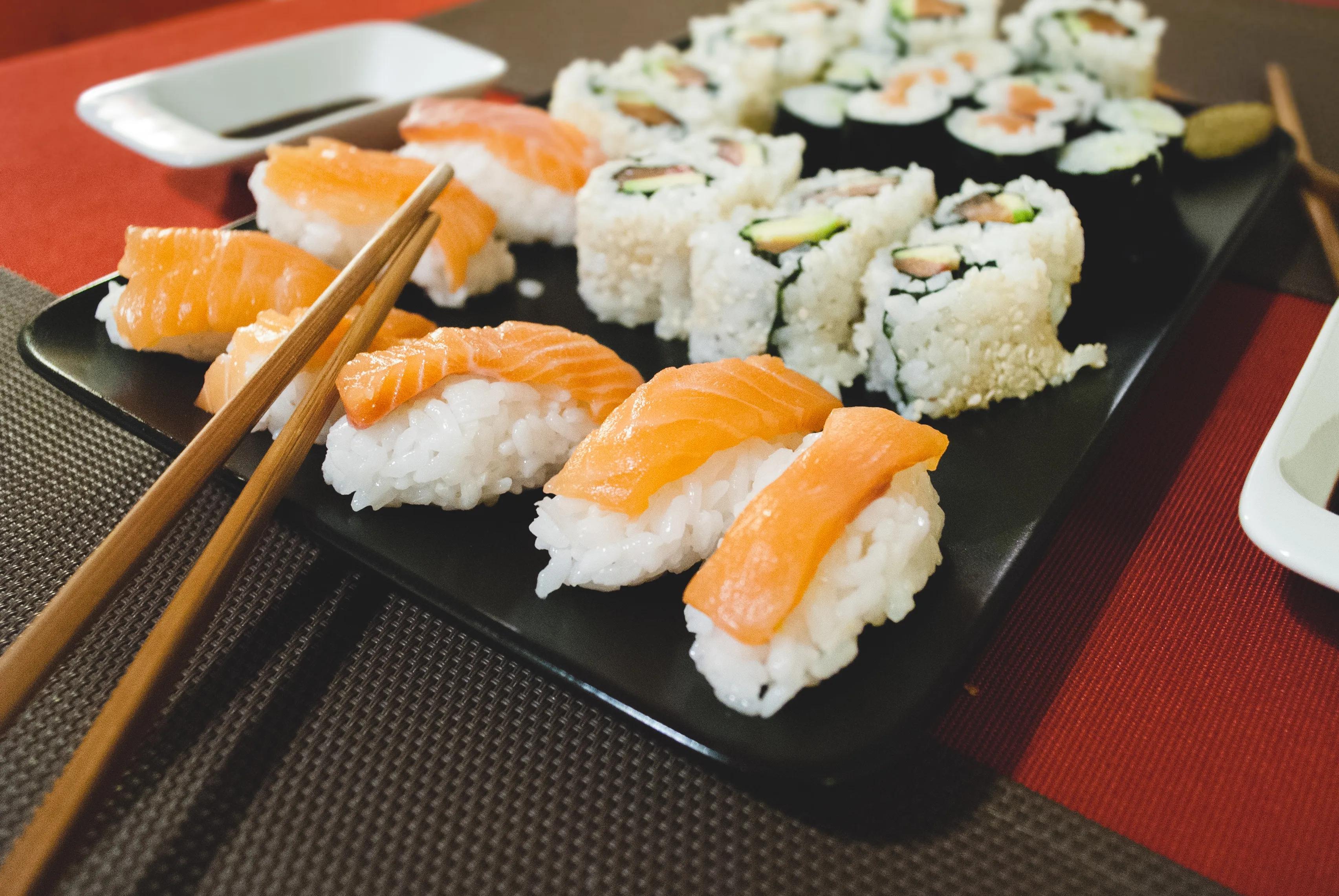 Homemade sushi salmon nigiri