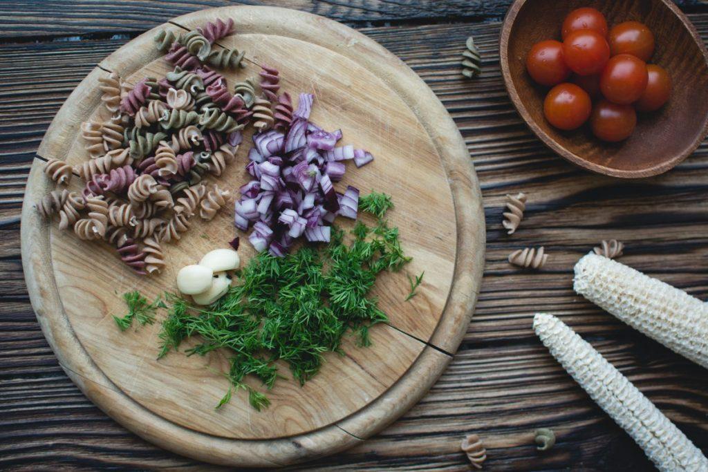 Pasta fusilli prepared for cooking
