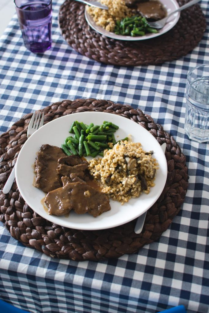 Beef with green beans and vegetables rissotto