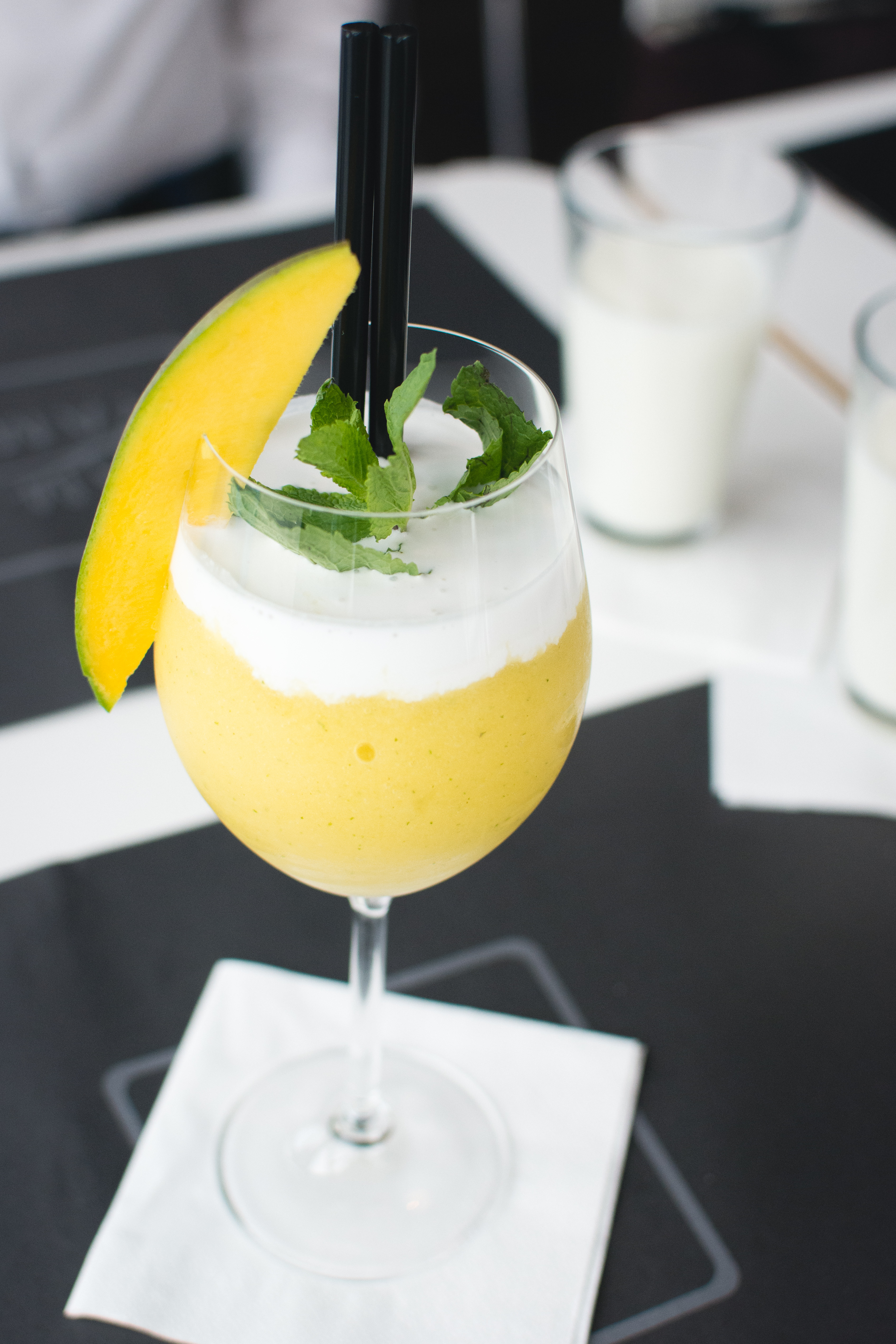 Frozen mango drink in a restaurant