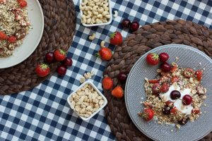 Healthy granola with cherries