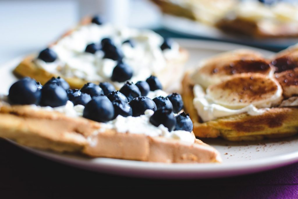 Bluberries waffle close up