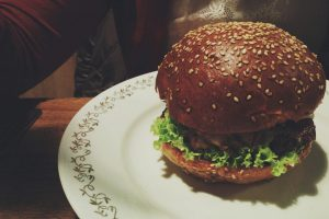 Beef burger in a restaurant