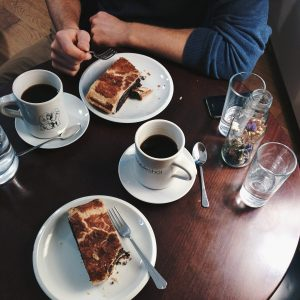 Black coffee with poppy seed Strudel