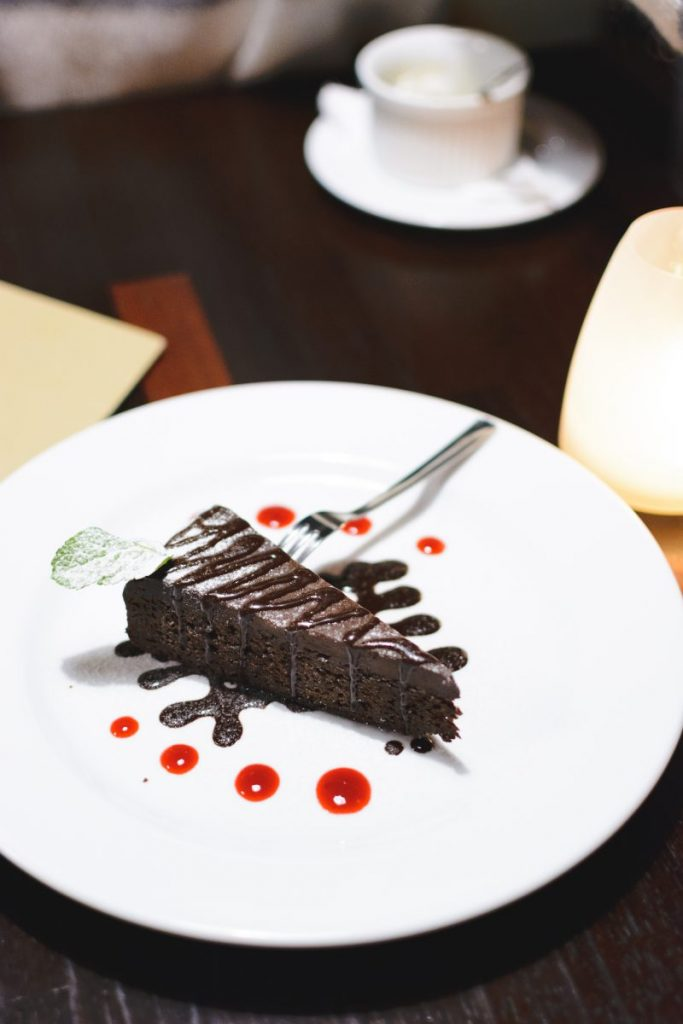 Chocolate dessert in a restaurant