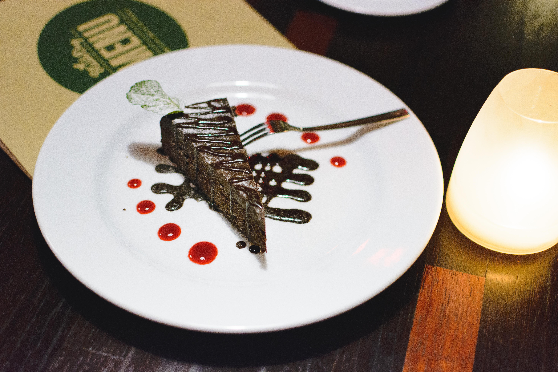 Chocolate dessert in a restaurant