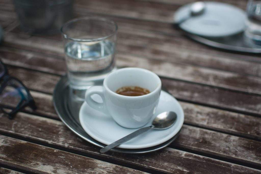 Coffee espresso on a wooden table