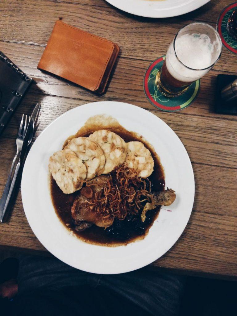 Czech roasted duck with sauerkraut and dumplings