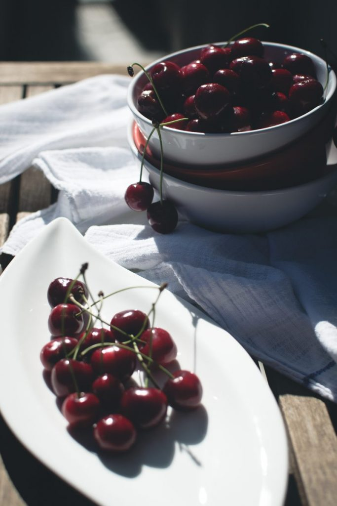 Fresh cherries outside