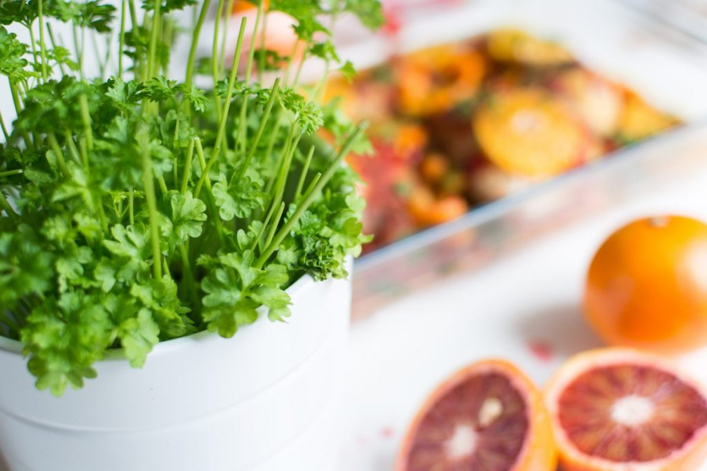 Fresh parsley and oranges