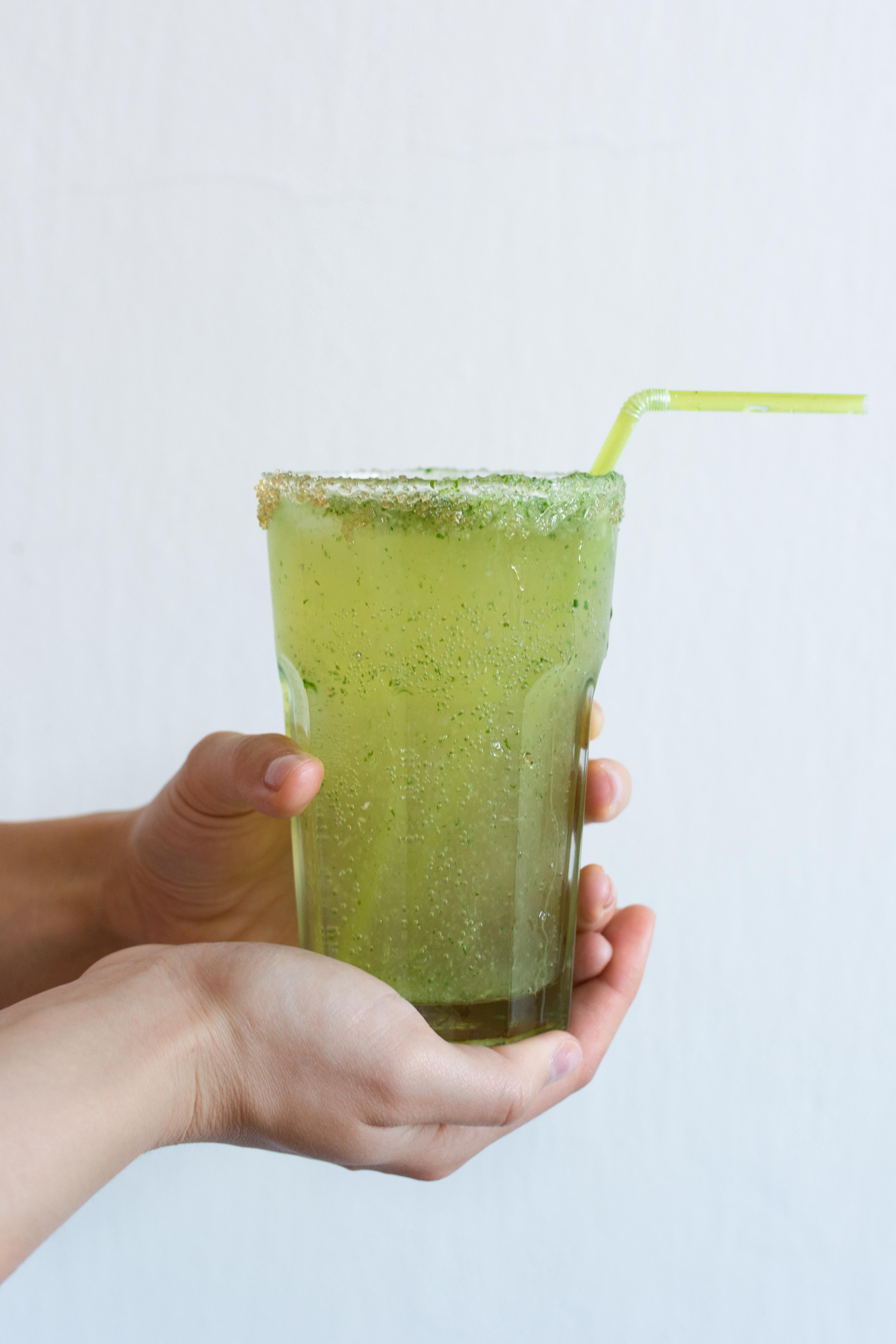 Glass of homemade cucumber lemonade