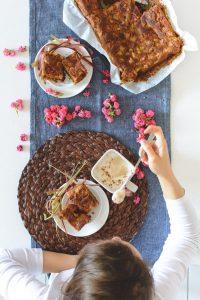 Homemade rhubarb cake