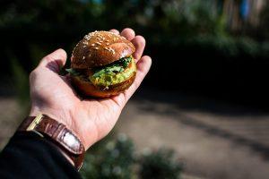 Mini burger with guacamole outside