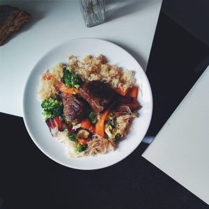 Paleo beef steaks with vegetables and cabbage