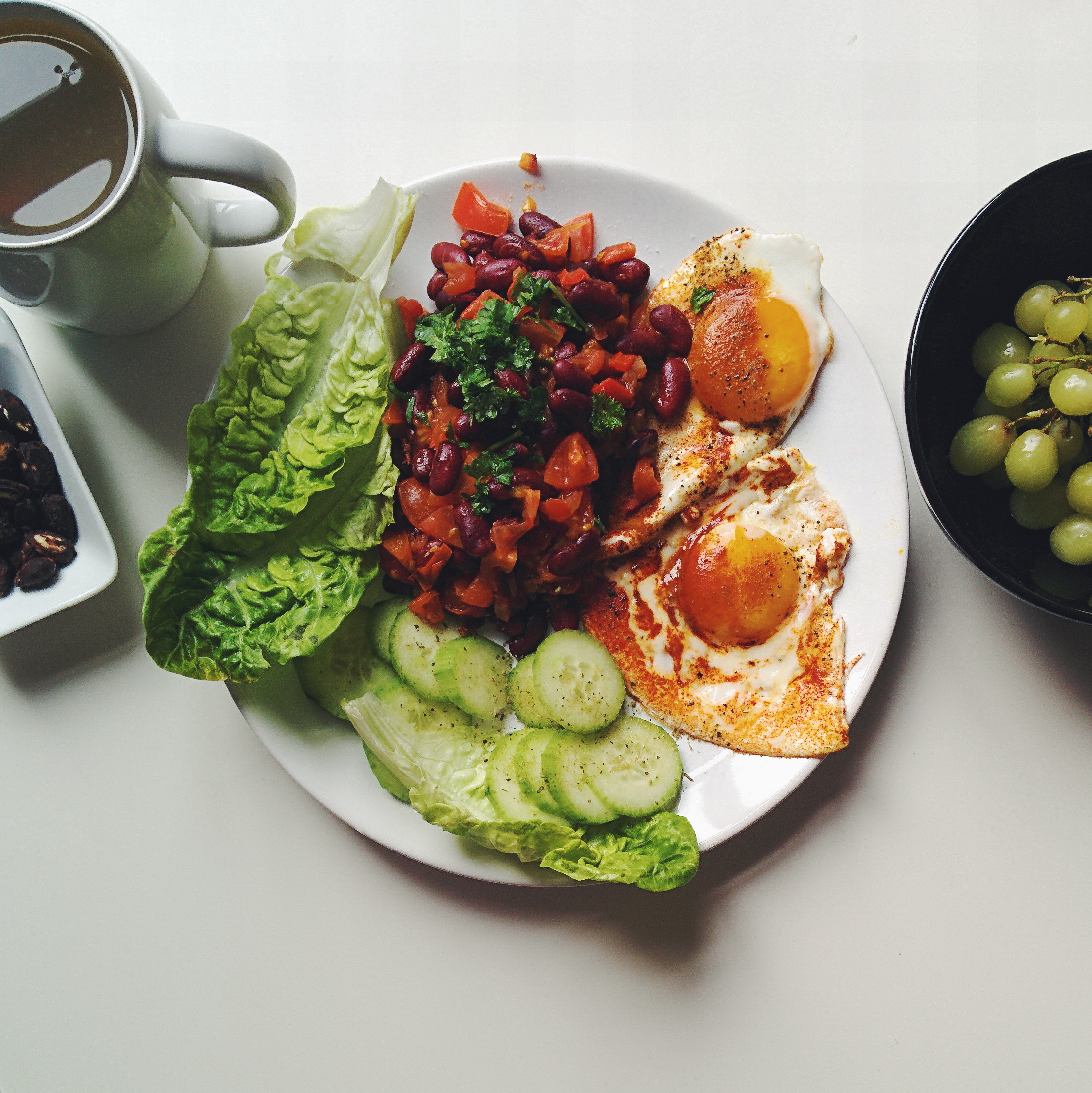 Proper healthy breakfast eggs, beans and vegetables