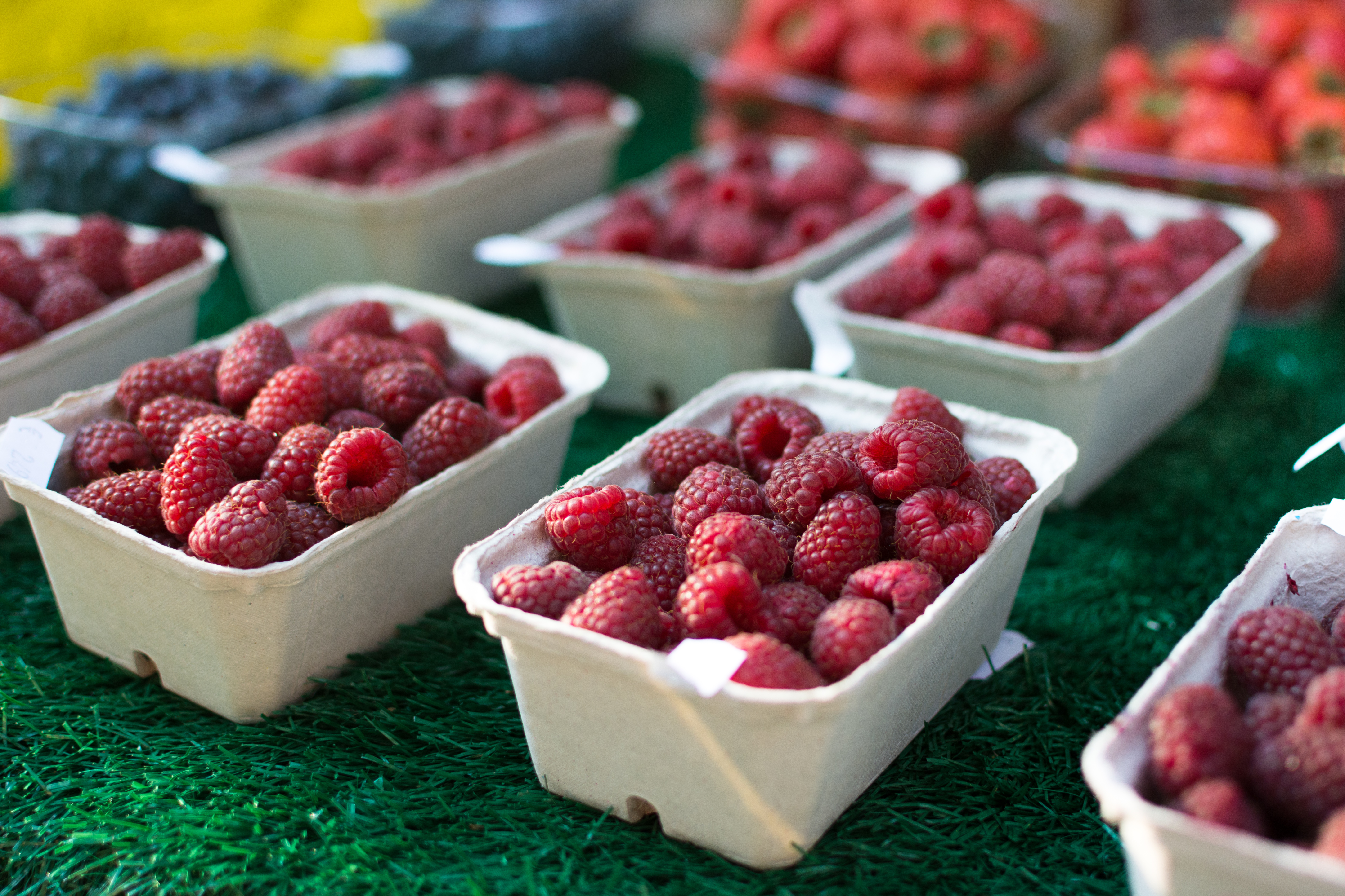 Raspberries at a market