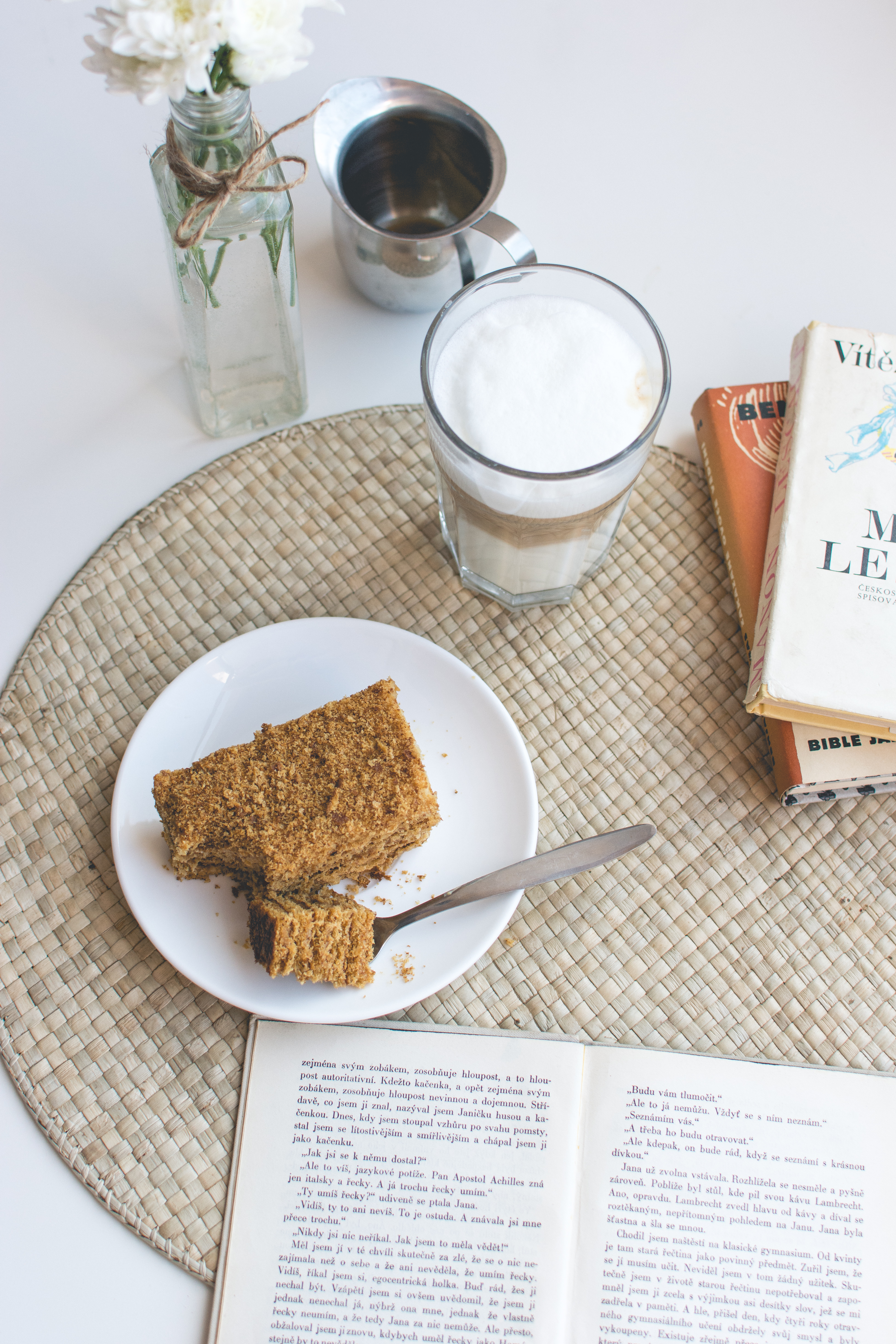 Traditional Czech honey cake with caffe latte