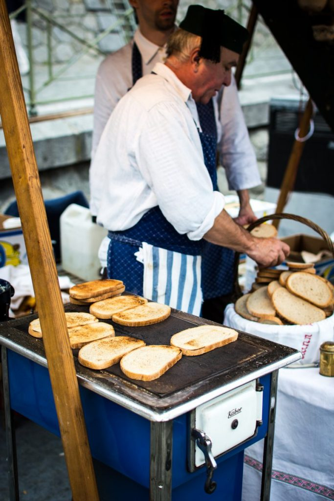 Traditional Czech toasted bread with garlic