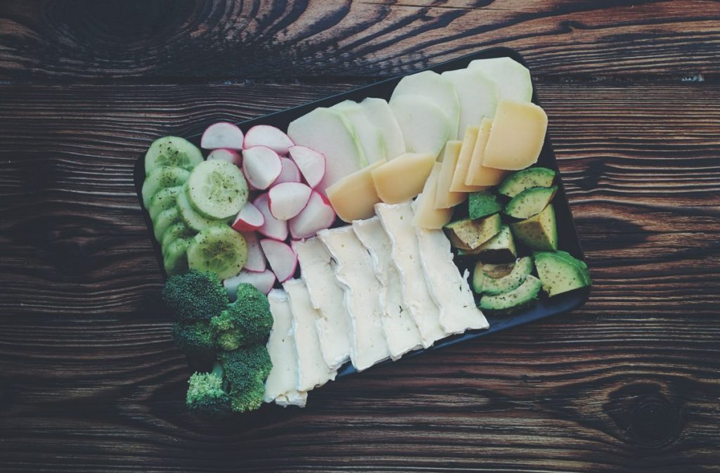 Vegetables with cheese plate