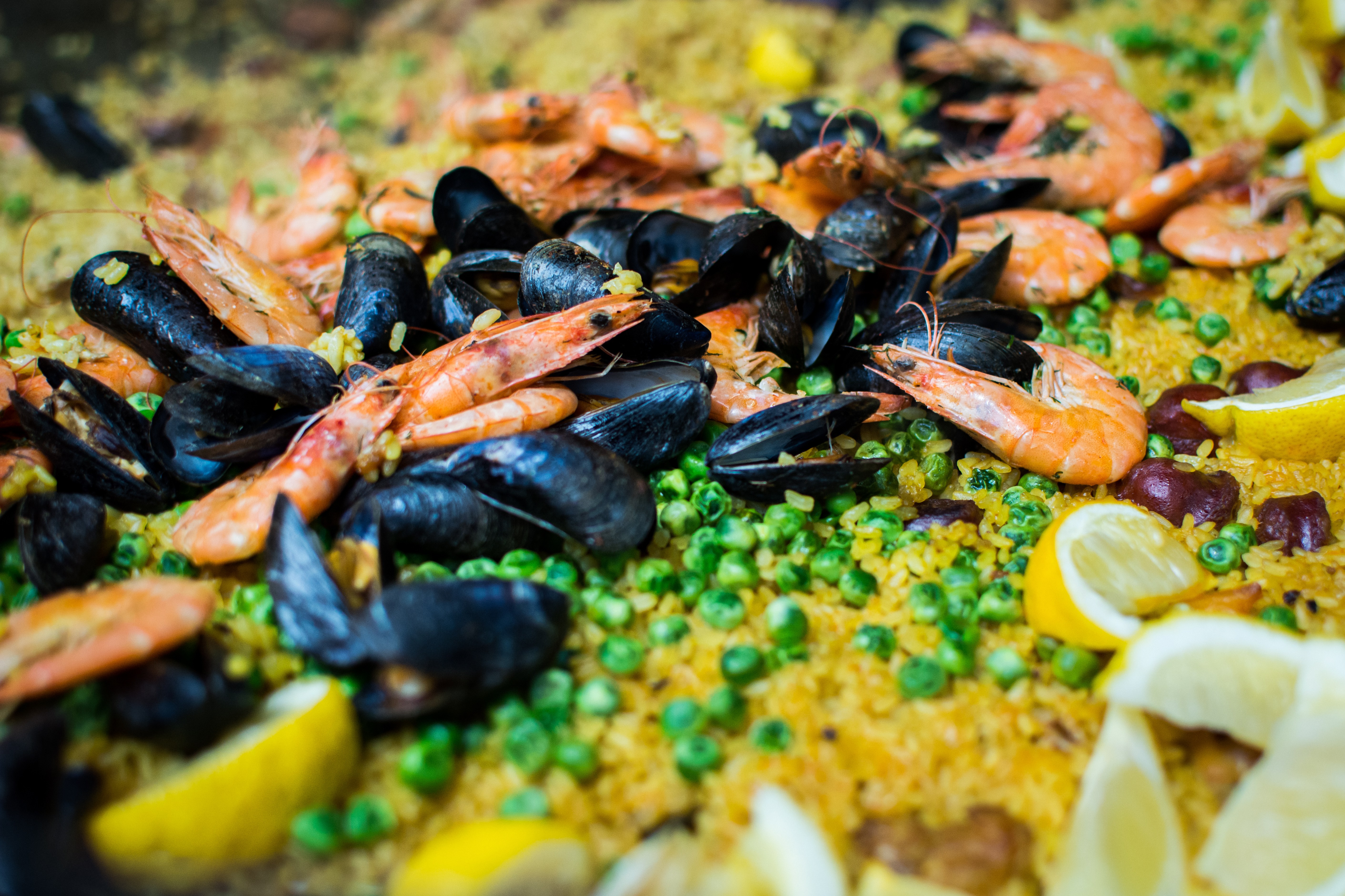 Seafood paella close up