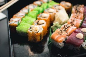 Colorful sushi in a black box