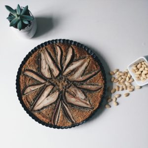 Homemade poppy seed almond cake with pears