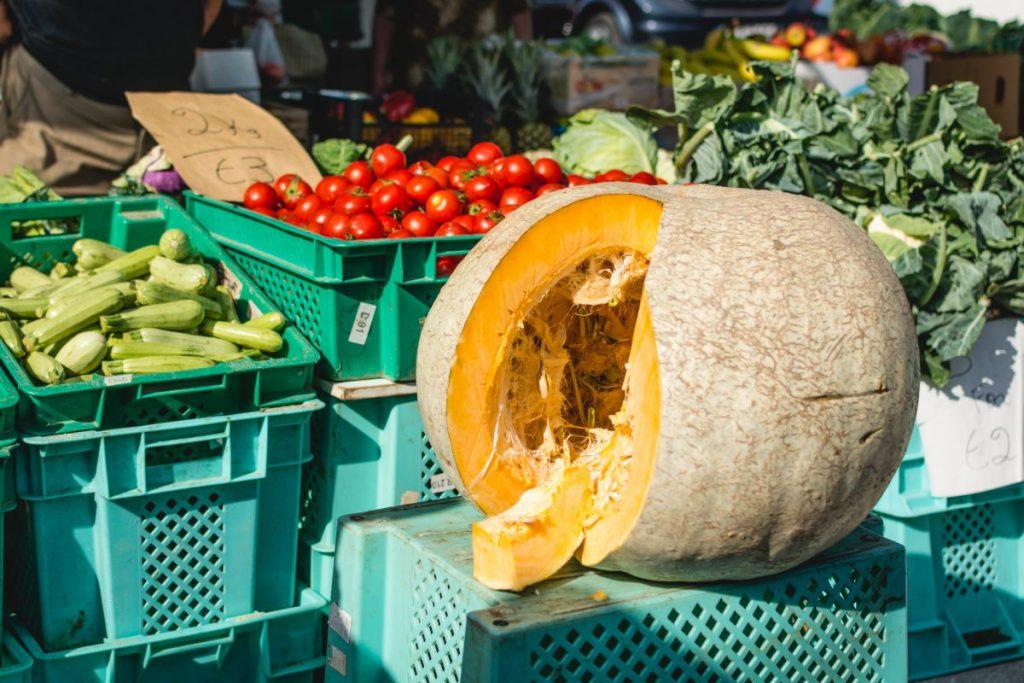 Huge pumpkin on a market