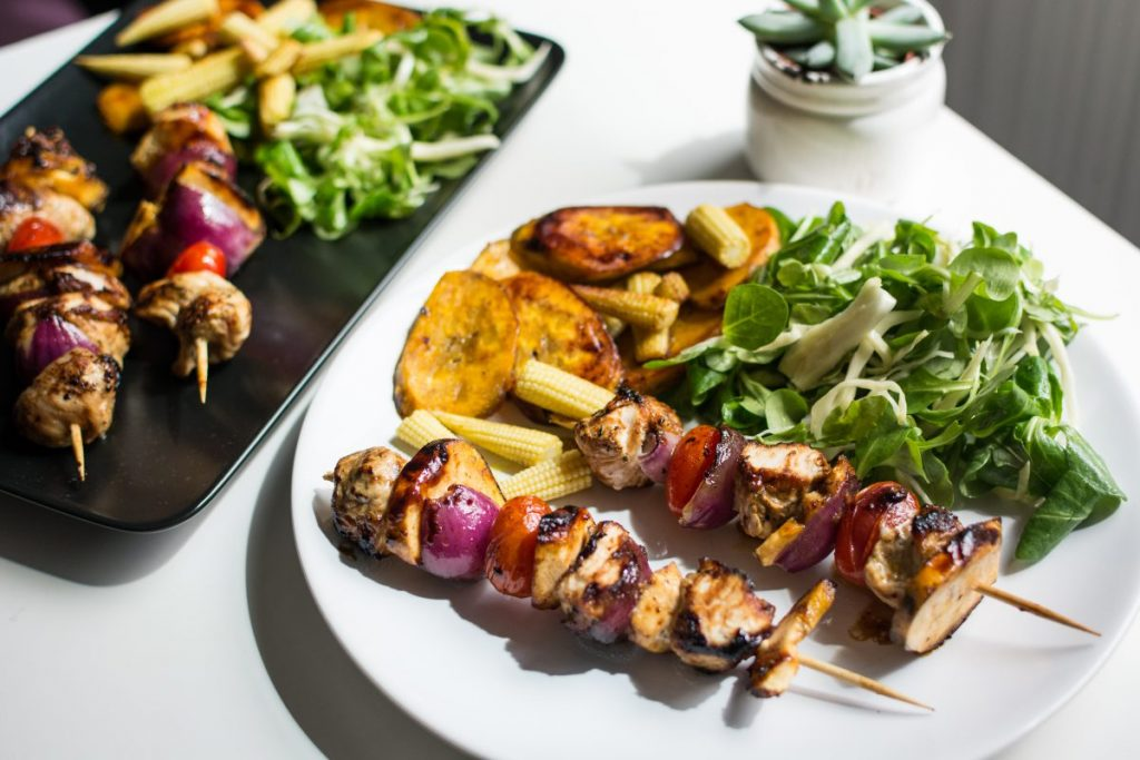 Paleo chicken skewers with plantains