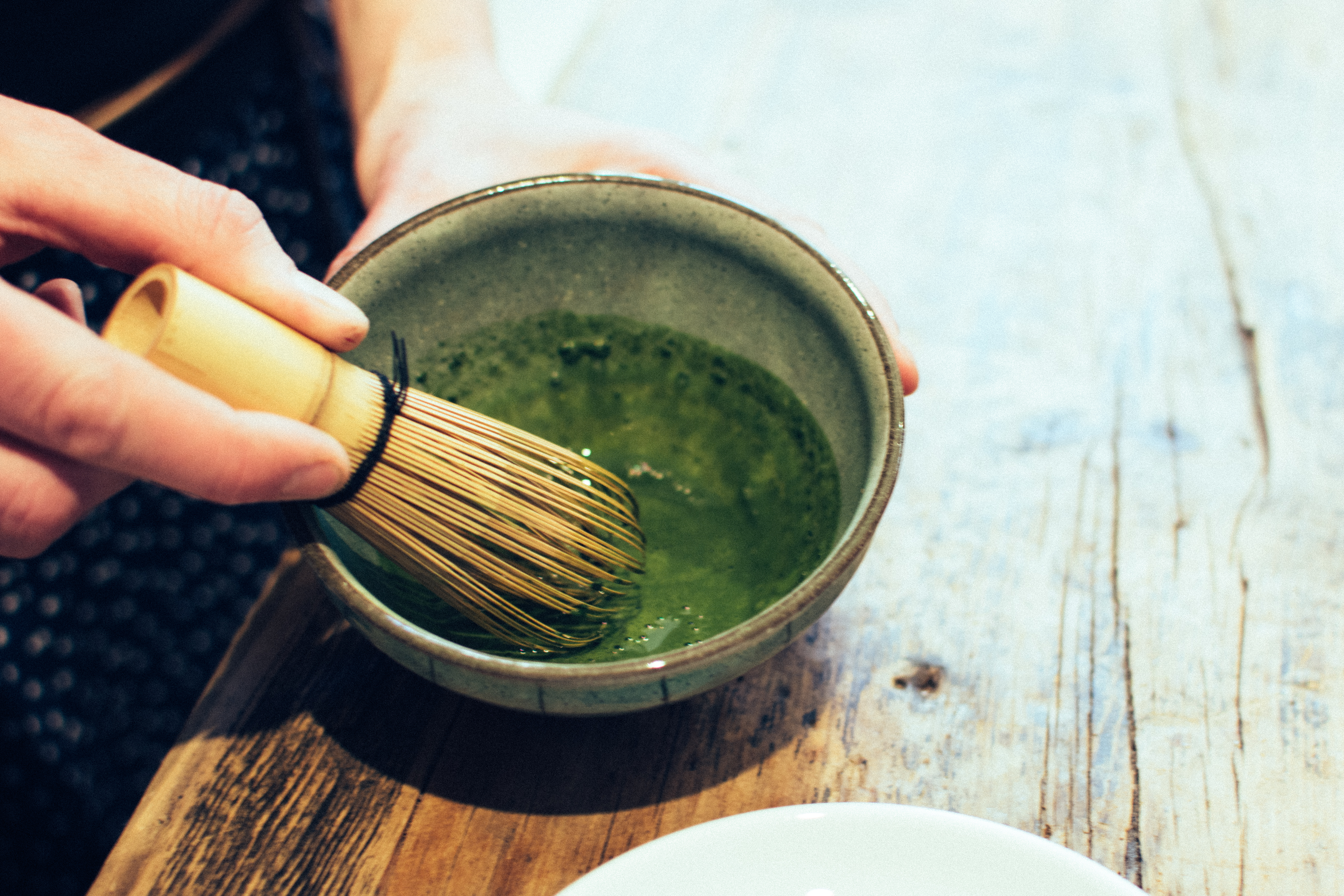 Matcha tea whisking