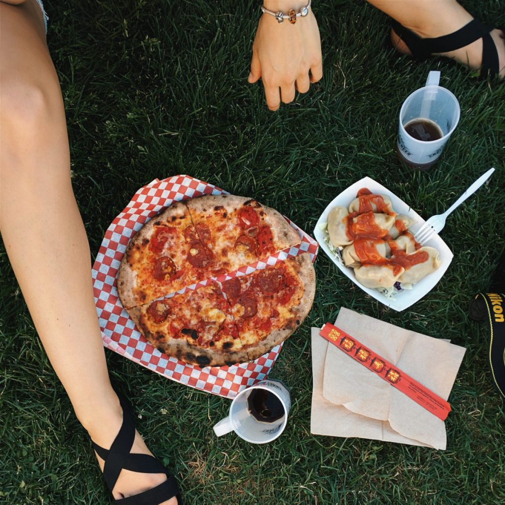 Pizza Salami on a grass