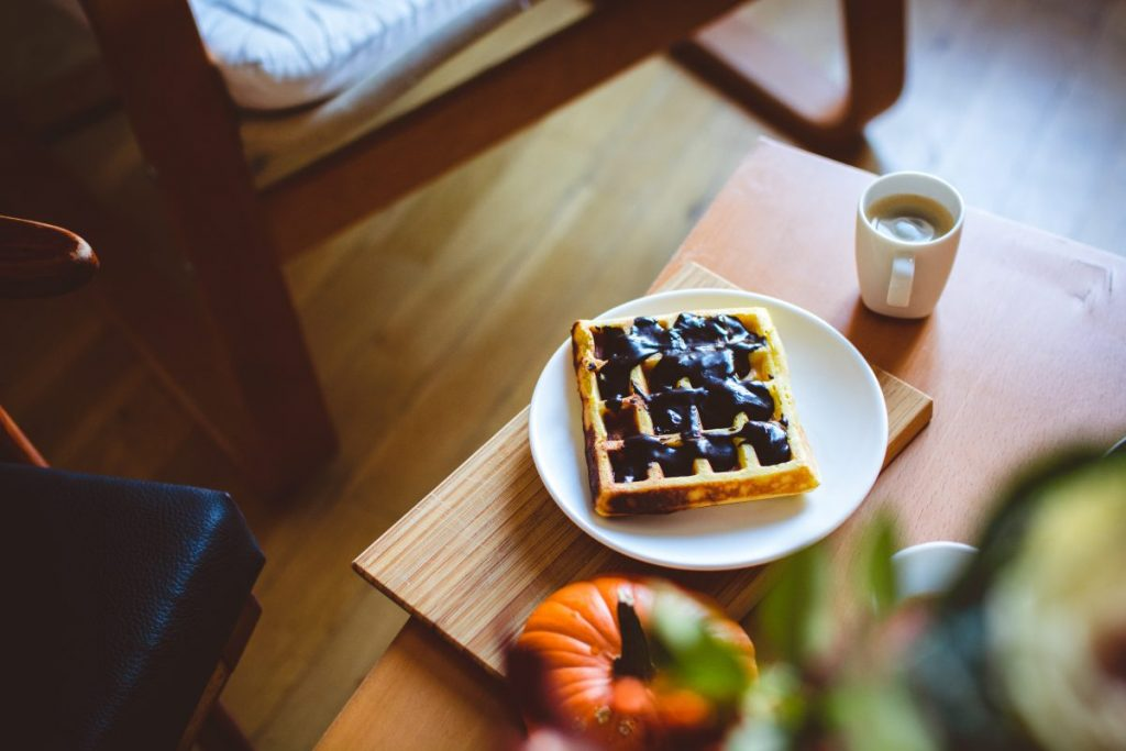 Autumn relax with waffle and coffee