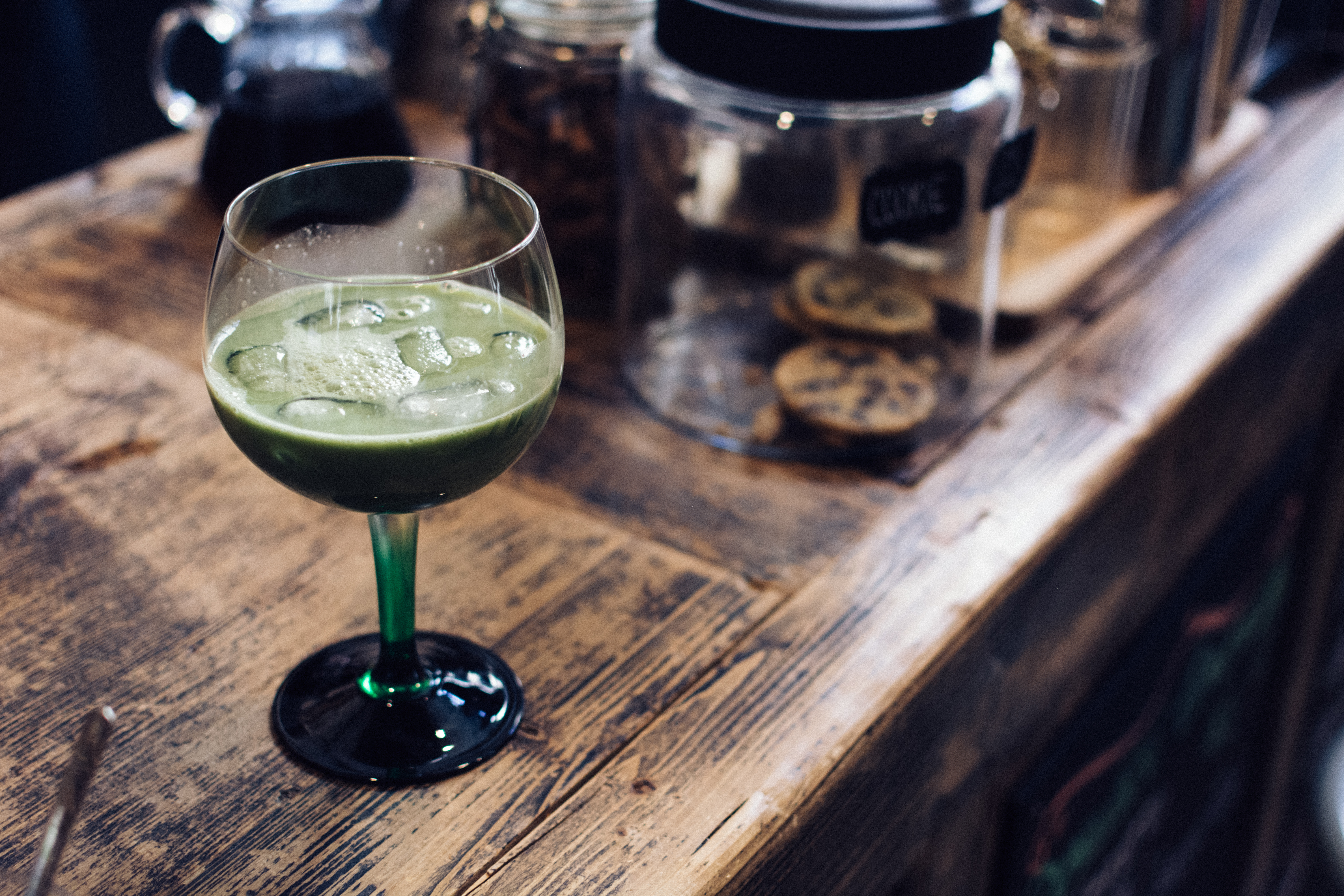 Matcha cocktail in a café