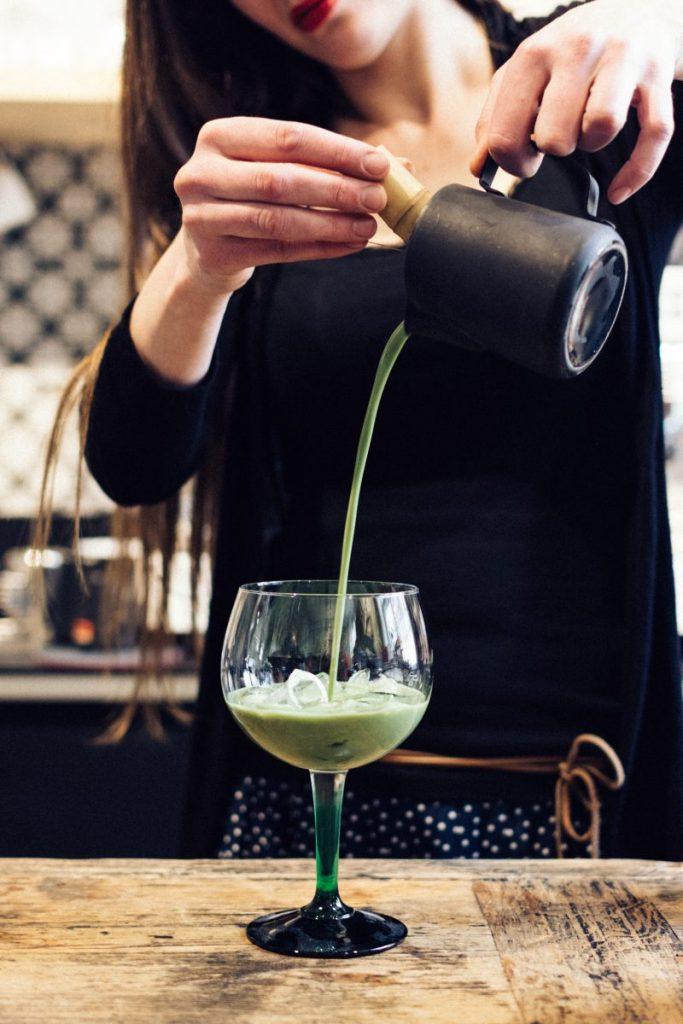 Preparing Matcha cocktail