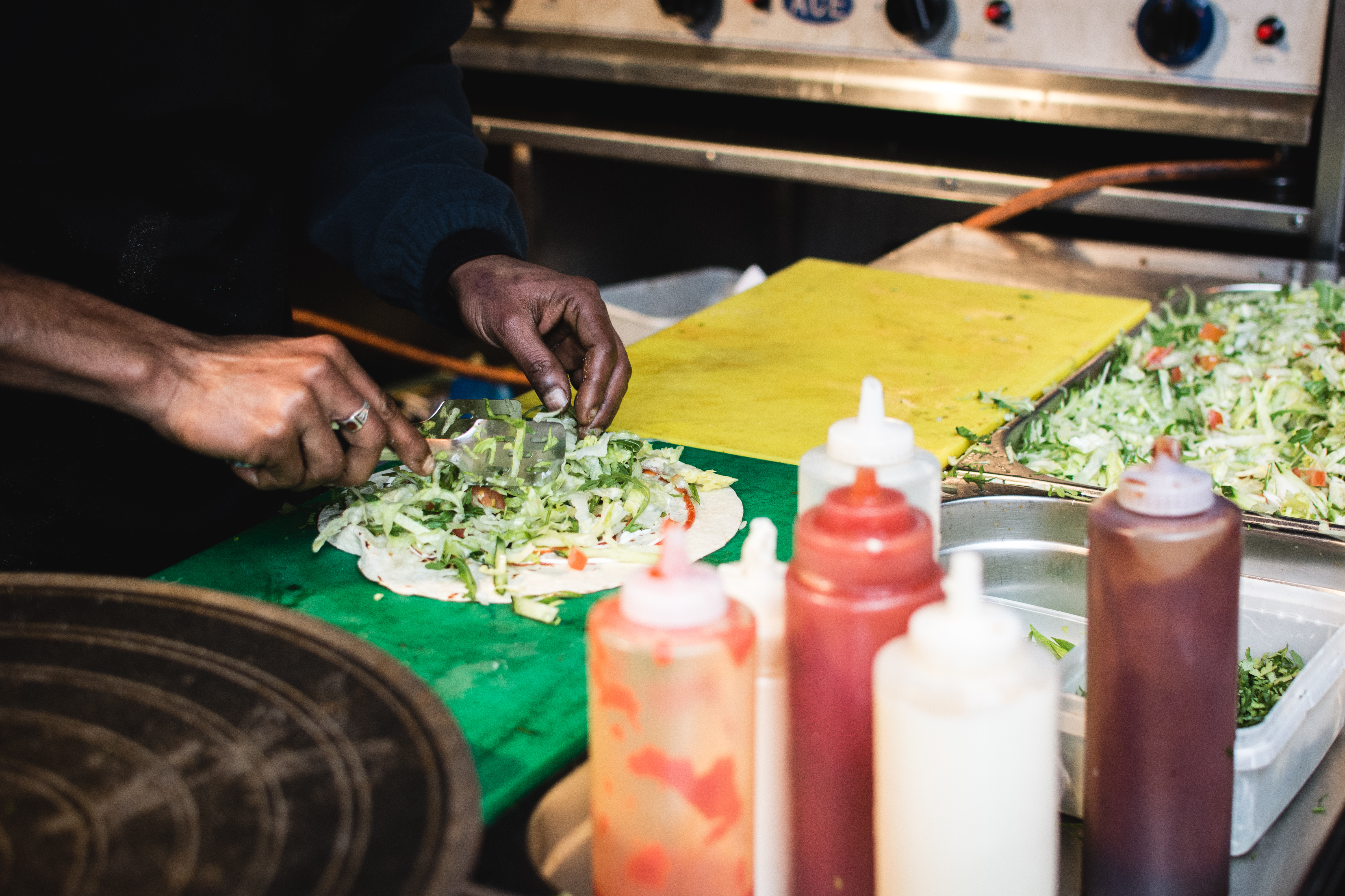 Preparing street food wraps