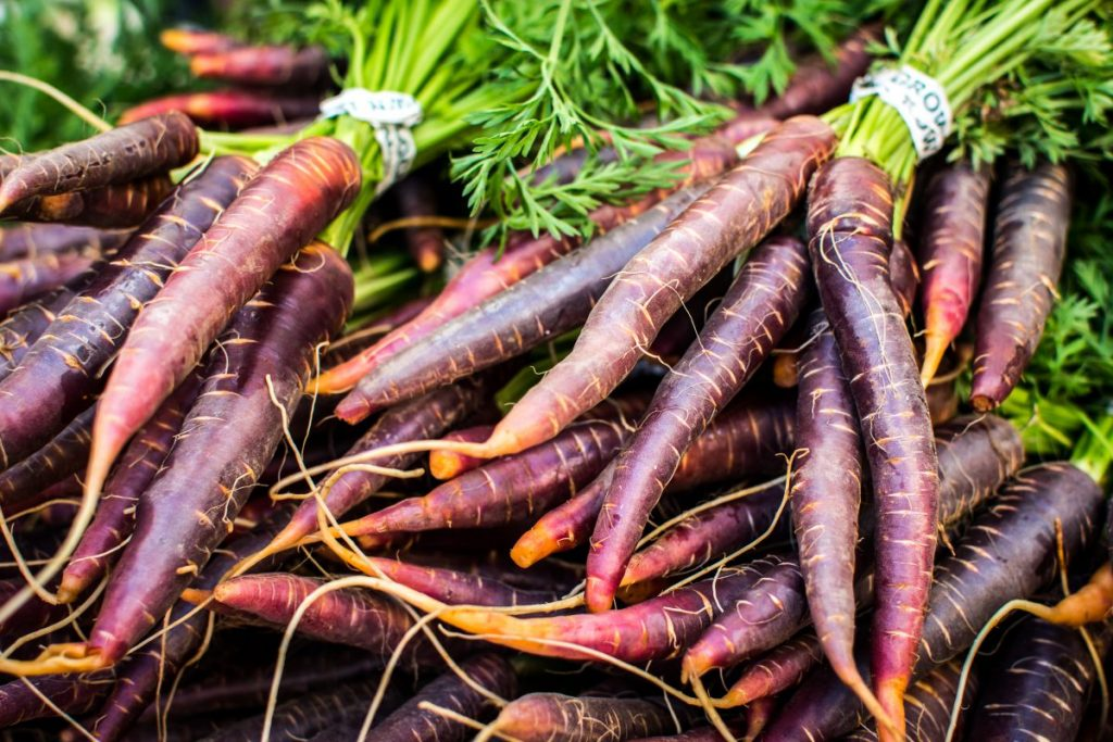 Red carrots at farmers market