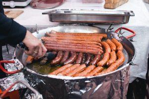 Sausages at a market