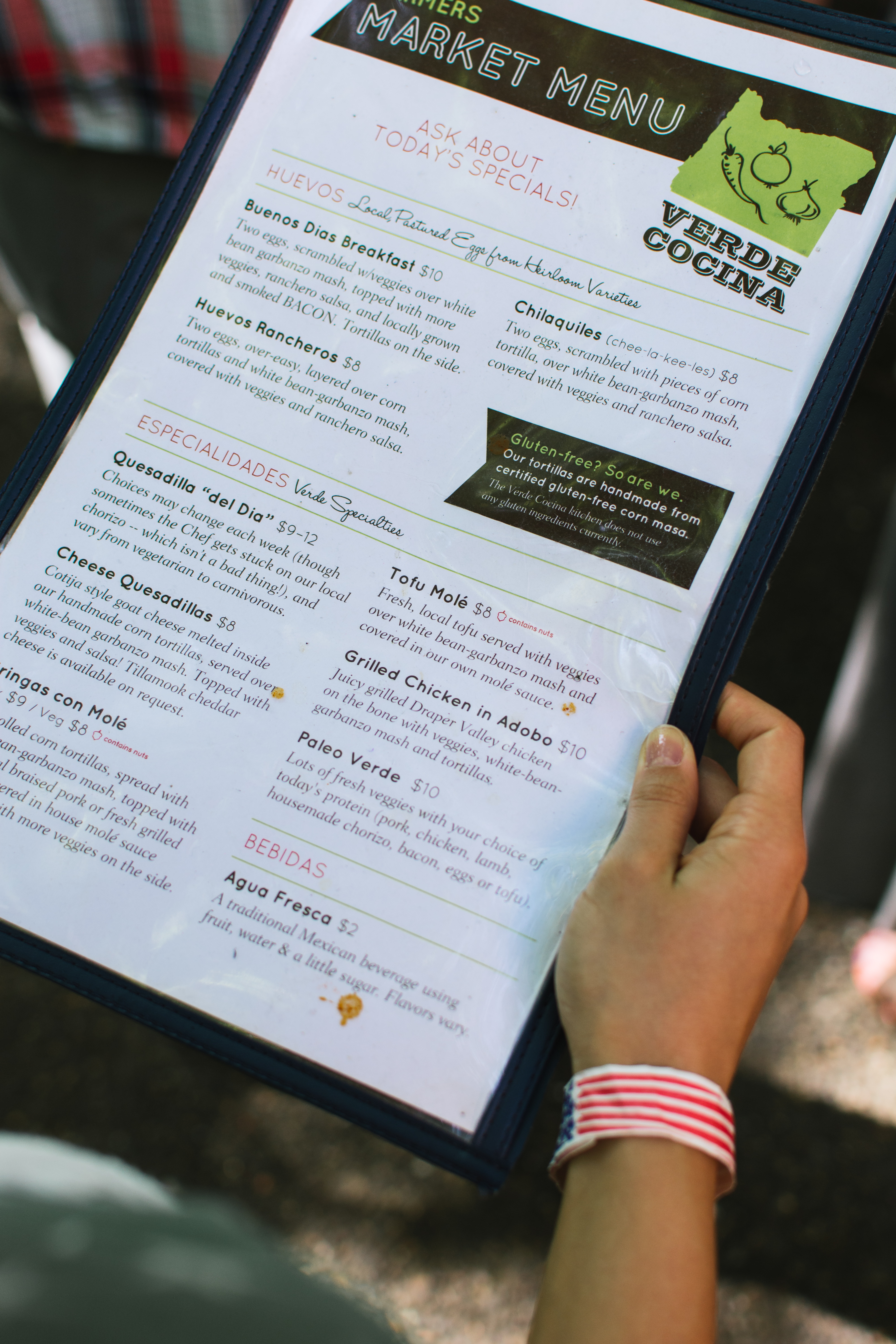 Choosing from Verde Cocina menu