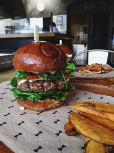 Beef burger with homemade baked potatoes