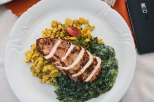 Chicken breast with spinach and potato gnocchi