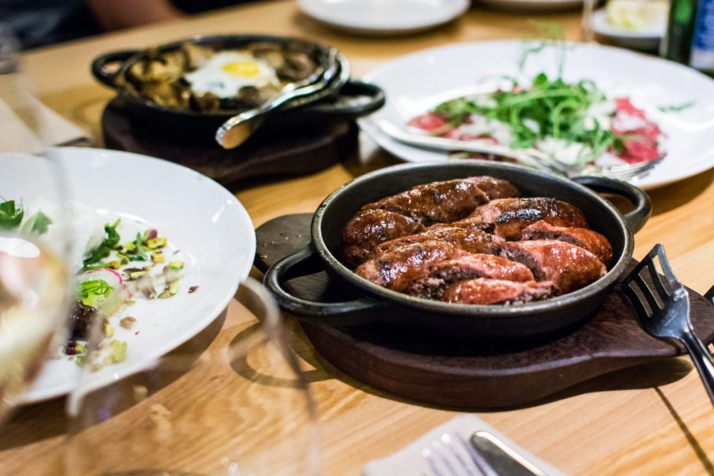 Sausages in a hot pan