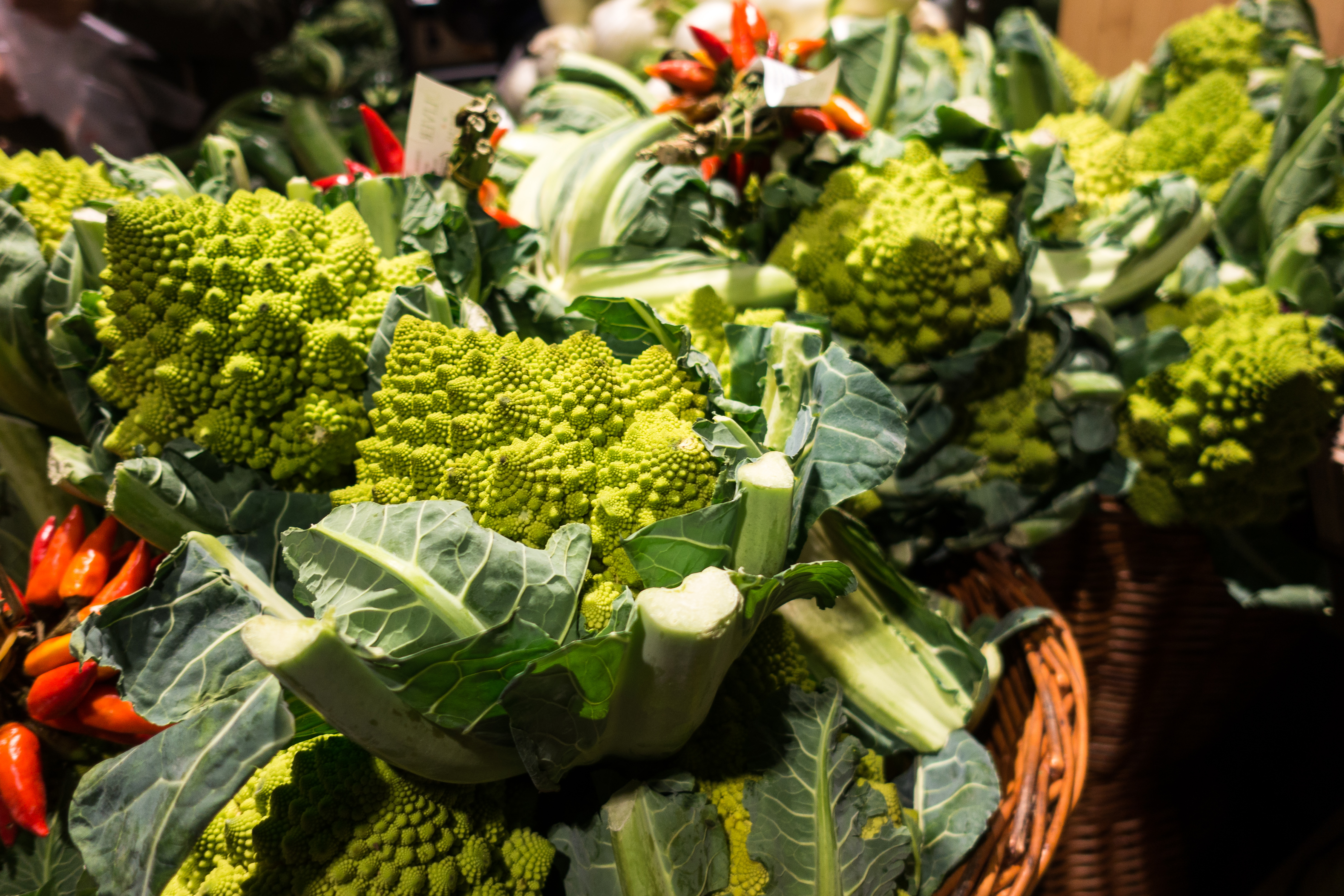 Romanesco broccoli in a grocery store