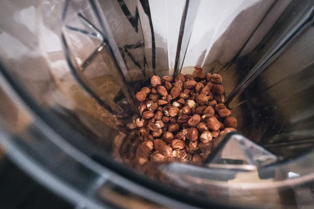 Hazelnuts in a mixer