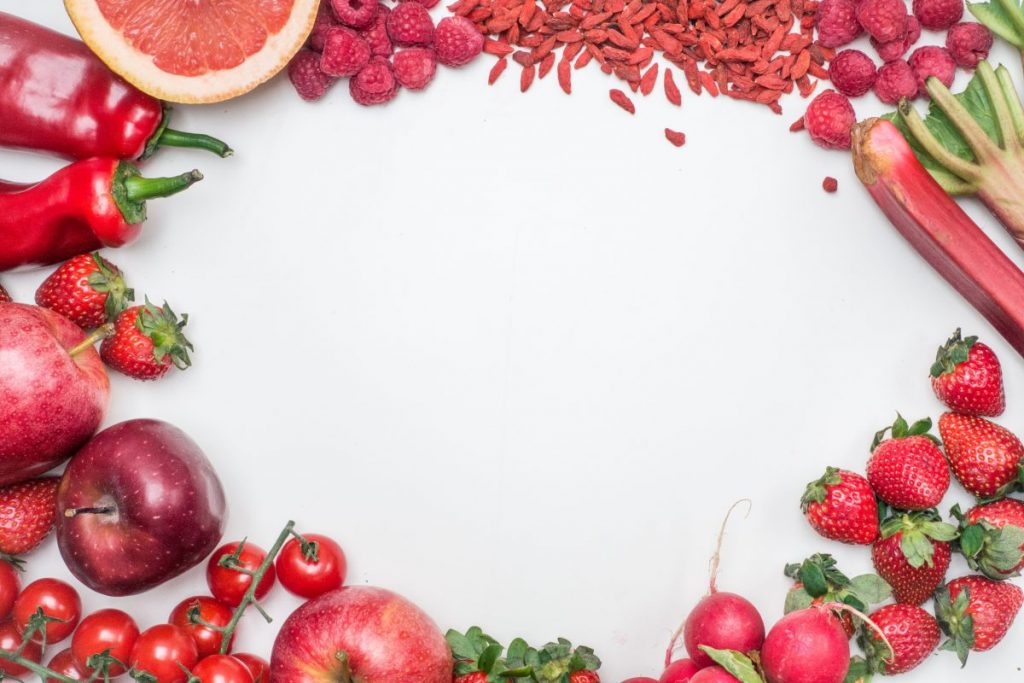 Red fruit and vegetables from above