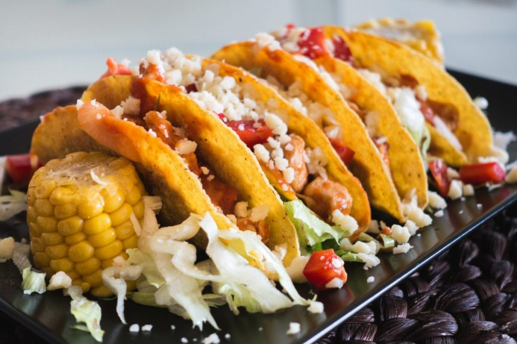 Tasty chicken tacos with cheese