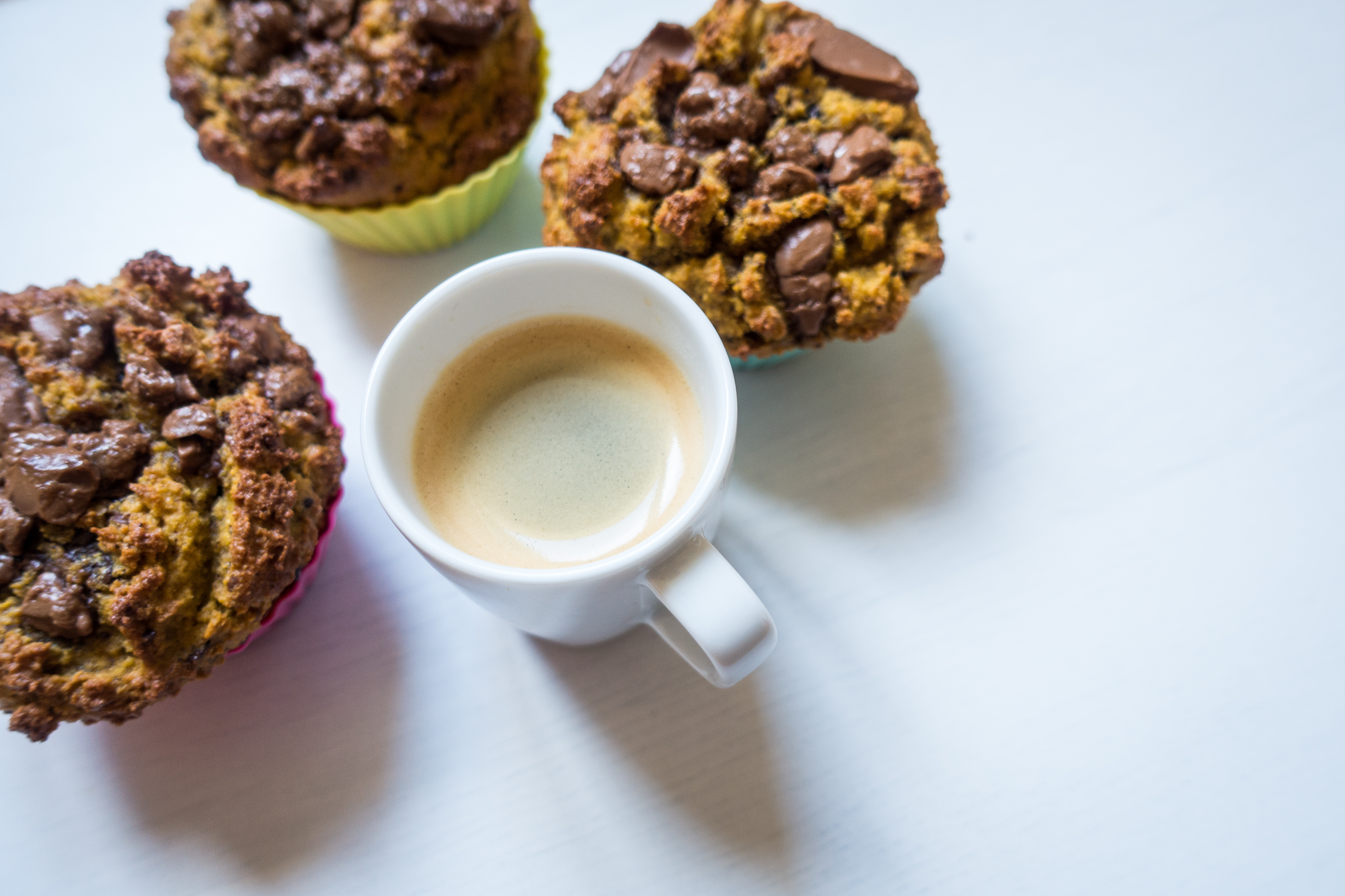 Coffee espresso with homemade chocolate muffins
