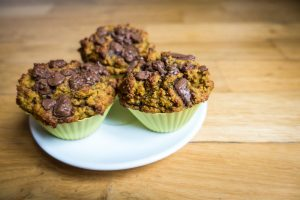 Homemade muffins with huge chunks of chocolate