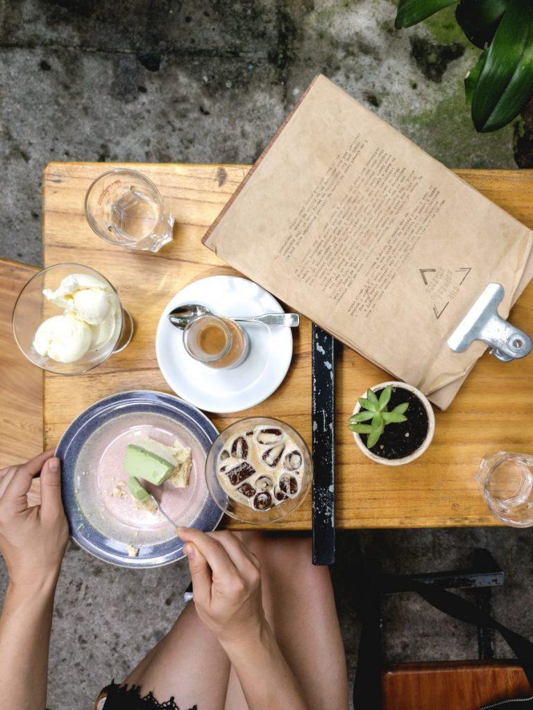 Iced coffee with matcha cake