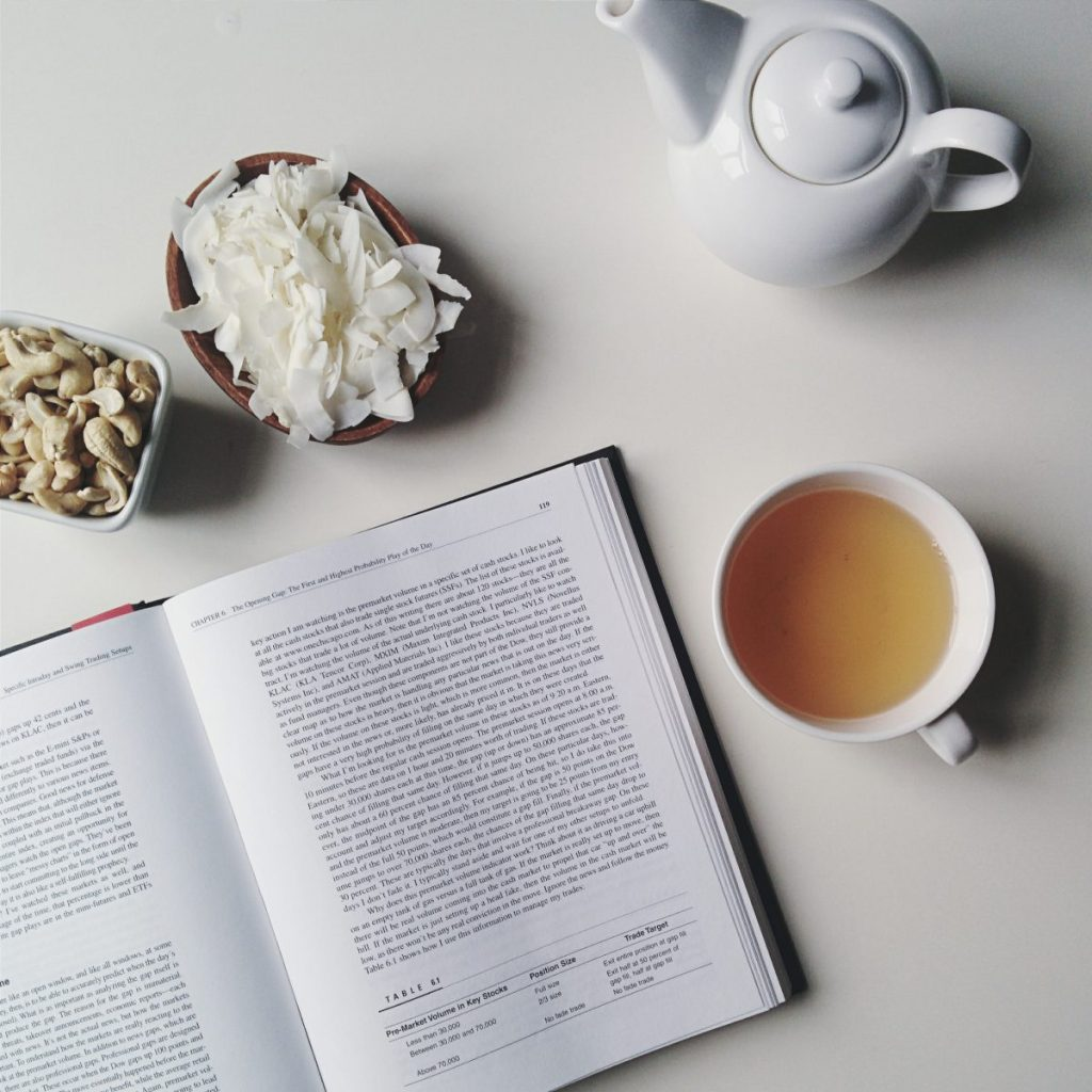 Relaxed sunday with tea and a book