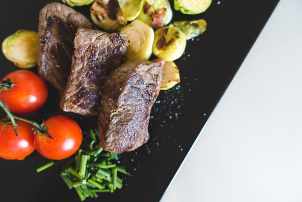 Beef steaks with vegetables from above